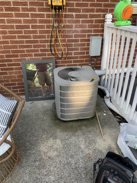 Miamisburg, OH - Found 2004 Goodman AC condenser coil a little dirty. Air filter at furnace was completely plugged. Replaced filter and lightly hosed off the condenser. Checked refrigerant charge and found it low on refrigerant running at a 38° superheat. Added 1 lb Refrigerant R-22 Freon. Unit is operational at this time.
