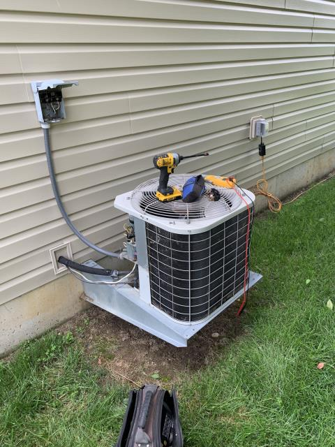 Centerville, OH - here for a seven year old air conditioner that is not cooling. On arrival found outdoor unit not running due to a failed capacitor. Capacitor is dead on the fan side, the compressor side is OK but without the fan the compressor has been kicking off on overload. Replaced the 45 x 5 capacitor and system came back on. Line temperatures and temperature split inside are normal. Checked air filter and it is OK. Customer seemed to be very concerned, and there was a slight language barrier. I explained to the customer that a capacitor failing is a completely normal thing and one of the most frequent calls that I run. I explained to her that it is 83° in the house and with the outdoor temperatures it's going to take at least a few hours to bring the temperature down and it likely will not catch up until this evening.