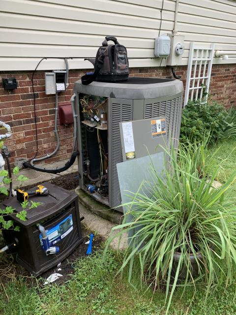 Centerville, OH -  here for a 10 year old Lennox air conditioner that is not cooling. On arrival found air conditioner locked out on a low pressure fault. Reset power to control board to clear this fault. Changed the filter inside which was completely plugged. Hosed off condenser coil that was extremely plugged as well, and cycled system. Verified refrigerant charge. System operations are OK at this time, and system should not be tripping low-voltage fault anymore. Customer has only lived here for a year and never even realized where the filter was so I made sure he knew how to change the filter.
