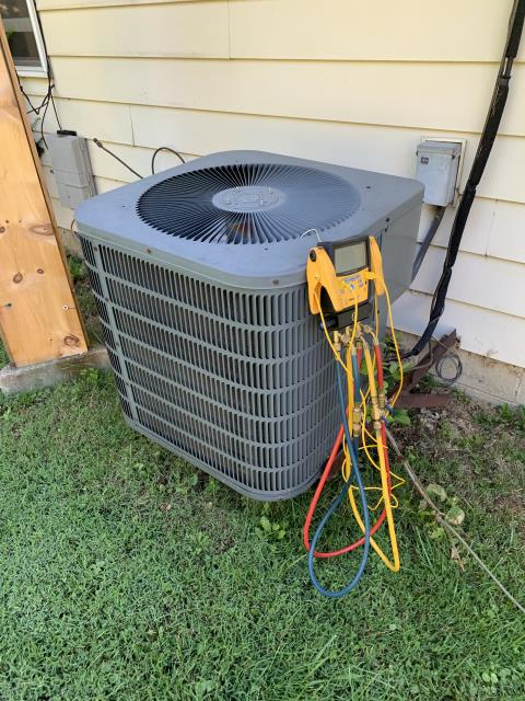 Jamestown, OH - 1982 GE Furnace indoor blower is very dirty and blower capacitor is slightly week. 2005 Goodman Heat Pump outdoor unit also has a weak capacitor on the compressor side. Fan is also very noisy and drawing elevated amps. Spoke to him about some replacement options and he is not ready for an estimate at this time. Customer did not want to replace either weak capacitor at this time.