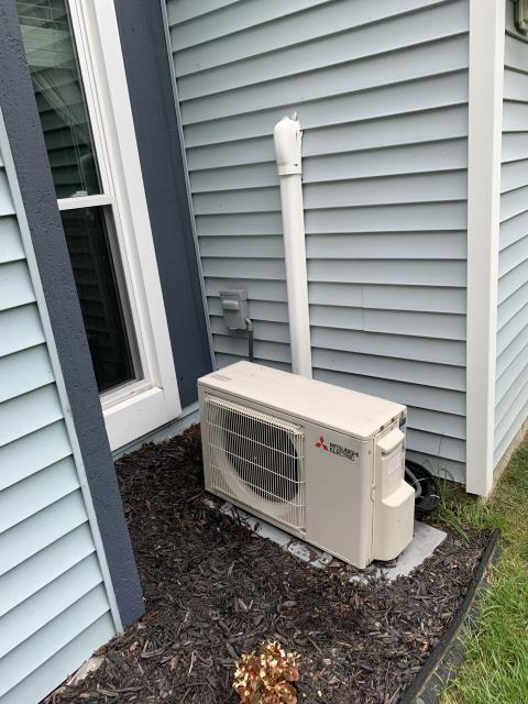 Fairborn, OH -  evacuating Mitsubishi system and removing indoor head from the wall and rerouting drain system will drain properly.
