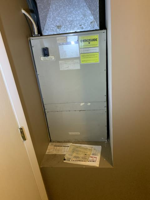 Centerville, OH - here for a water leak in a two-story condo building. This water is on the ground floor common hallway area. Customer is on the second floor. I checked air handler for any signs of condensation leaking.