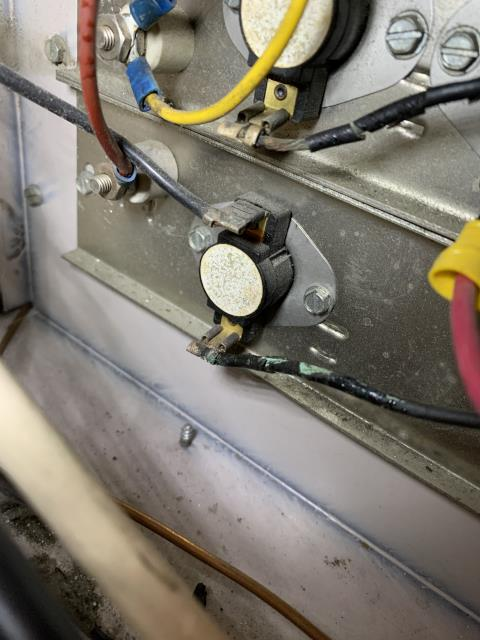 Dayton, OH - Service work performed: here for a no heat on a approximately 45 year old electric furnace. On arrival found none of the three heat banks coming on. Only the blower. Found all of the high voltage wiring Is burnt. It appears all of these circuits have been over amp in causing the wires to get hot and the insulation to melt off. Sequencers are also all in very poor condition. This heat kit needs replaced. Unsure if we will be able to locate replacement parts for this unit due to the age but gave customer a quote on repairs. We would not be able to quote a system replacement due to the amount of space we have in this closet. Current air handler is only 18 inches deep and barely fits in there and the air handler's we have are 22 inches deep. This would need some type of special wall mount air handler more than likely.