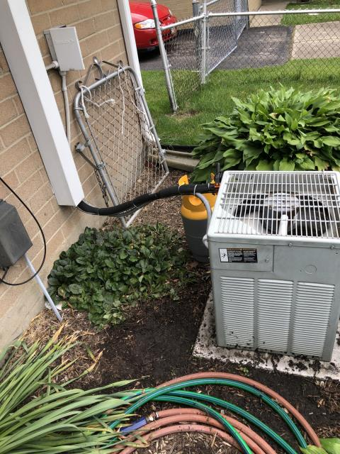 Centerville, OH - Performing a Tune Up & Safety Check on the Customer's Air Conditioner Unit.