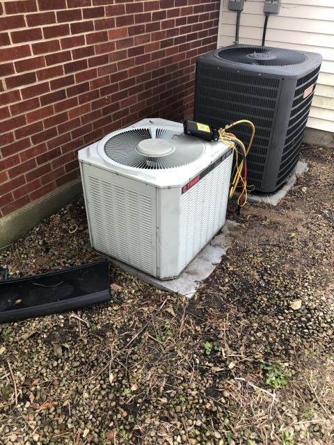 Huber Heights, OH - I performed a tune up and safety check on a TRANE air conditioner.  I found that the return air filter was dirty.  I also found that the system has a small leak in it but customer didn't want me to do a leak search.  I quoted her the price to replace the unit.  The customer will let me know what her decision is.