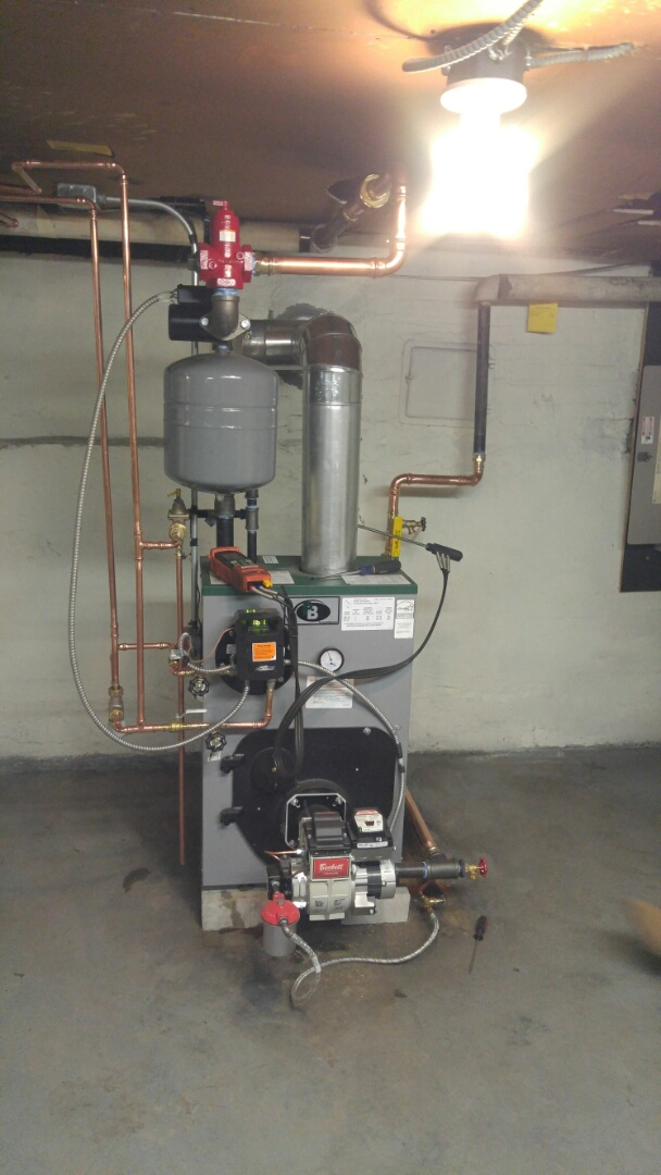 New peerless oil fired water boiler installation.
