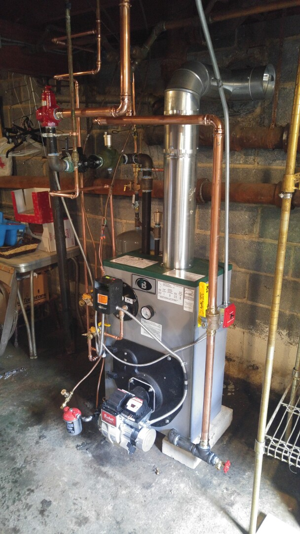 Keansburg, NJ - Installation of a Peerless oil fired boiler with tankless coil.