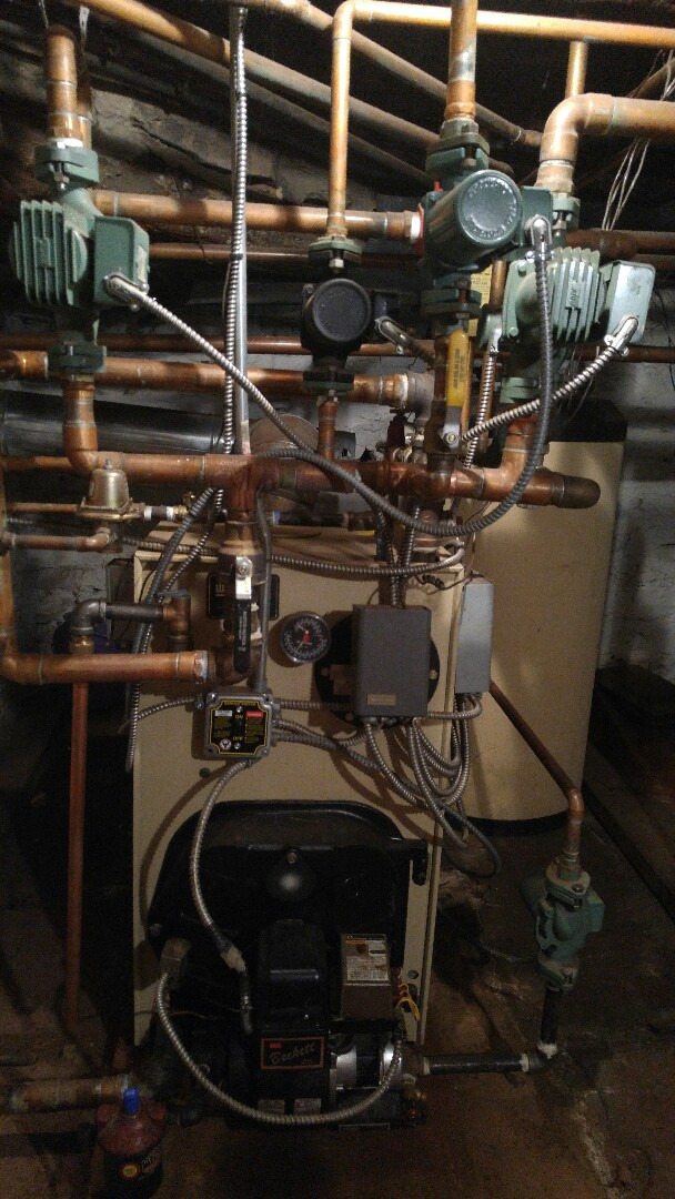 Annual tune up on a Weil-Mclain water boiler.