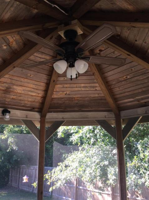 Youngstown, OH - This Gazebo with just installed,  LED lights, Hampton Bay  ceiling fan and electrical outlets.  Enjoy the summer evenings with these awesome electrical advantages.