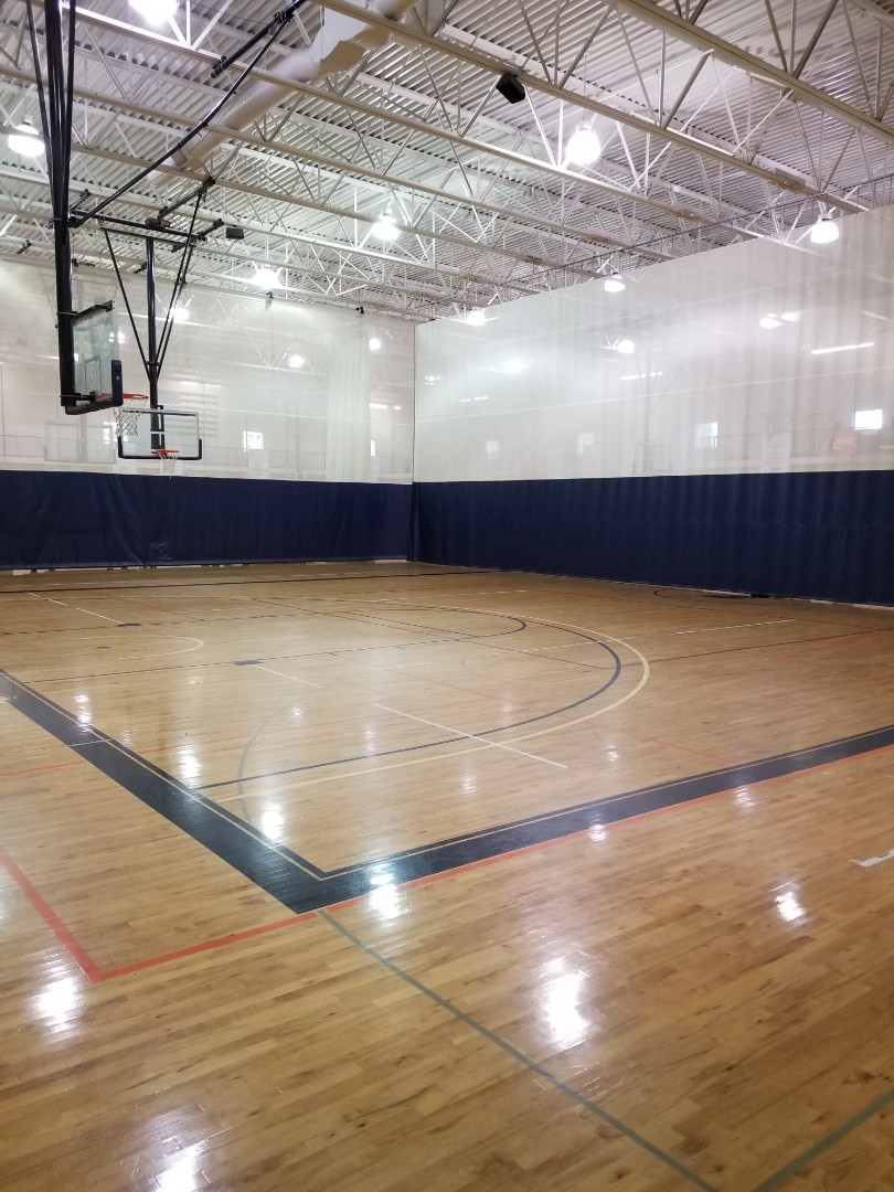 Gym cleaning where we dust mop floors auto scrub floors empty trash and wipe down glass windows