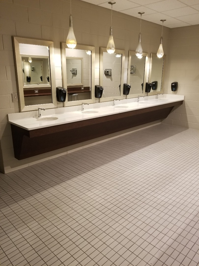 Bathroom sinks and mirrors at a commercial cleaning account in high point,nc