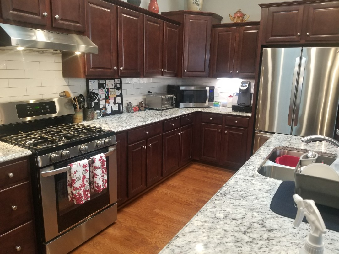 In Gibsonville today. Wash countertops. Clean Stovetops. Wipe down kitchen cabinets. Make your Stainless steal shine. Biweekly cleaning client. Greensboro and Triad Maid Service.