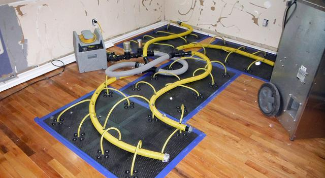 Denville, NJ - Extracted water and then used floor mat drying system to save hardwood floors.