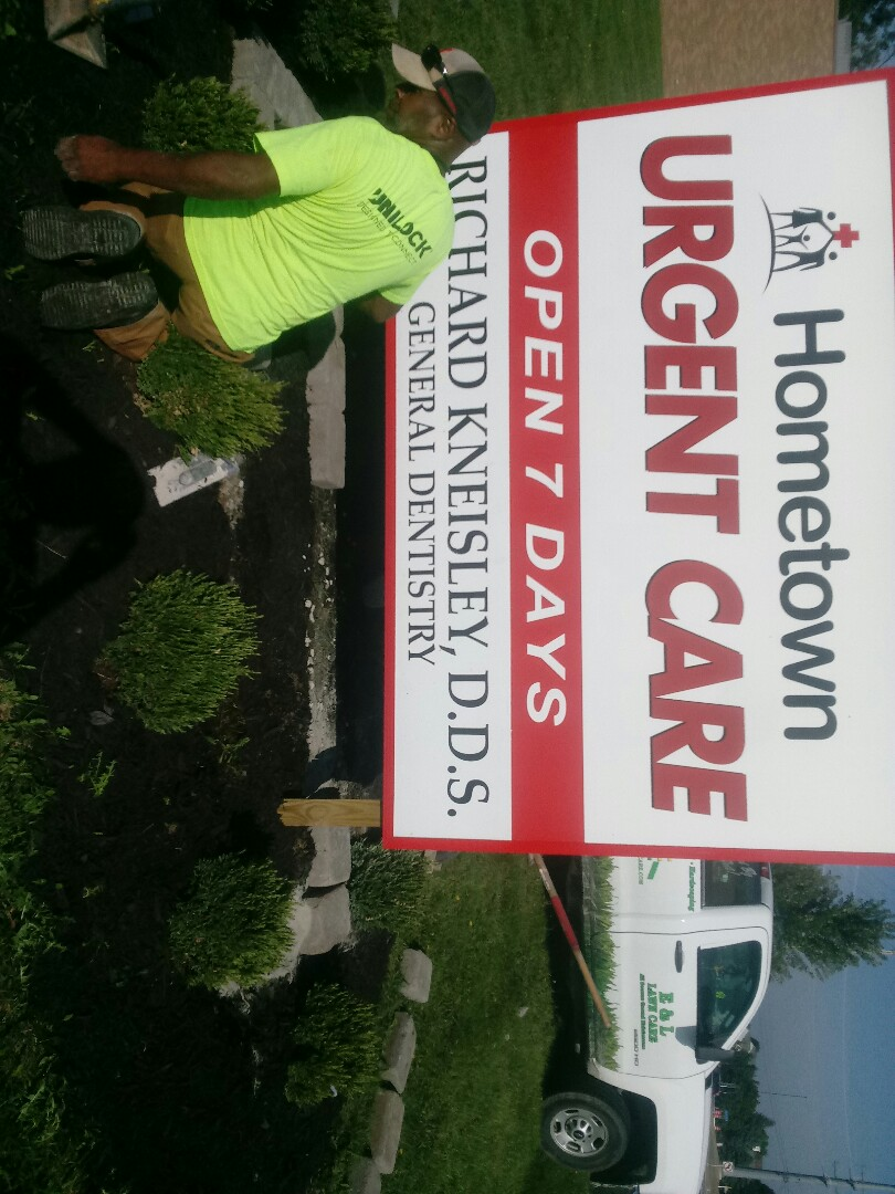 Hilliard, OH - Wall install around landscape sign