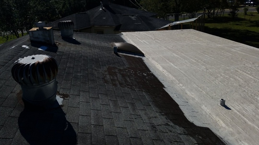 Pensacola, FL - No insurance? We understand, we do cash jobs too. ?? Older roof from 2004 needs replaced after Hurrican Sally, shingle hip style roof with a flat mod bit rolled roofing on the rear. We will update with architectural shingle.