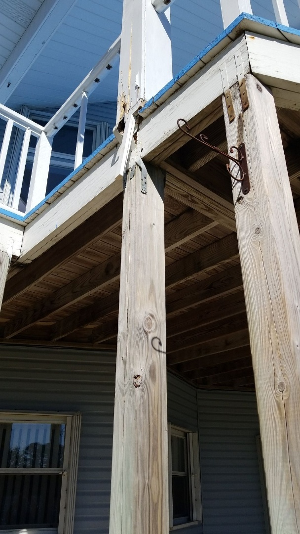 Pensacola, FL - Inspection, structural damage from Hurricane Sally affecting deck columns and needs overhauled and trued up. Also Stone coated steel tile roofing, checking for loosened up screws. Don't assume everything's fine just because there are no leaks today, get it checked out by the pros!