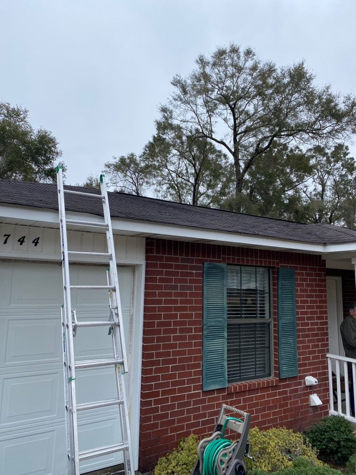 Milton, FL - A couple missing shingles from Hurricane Sally on the old roof.