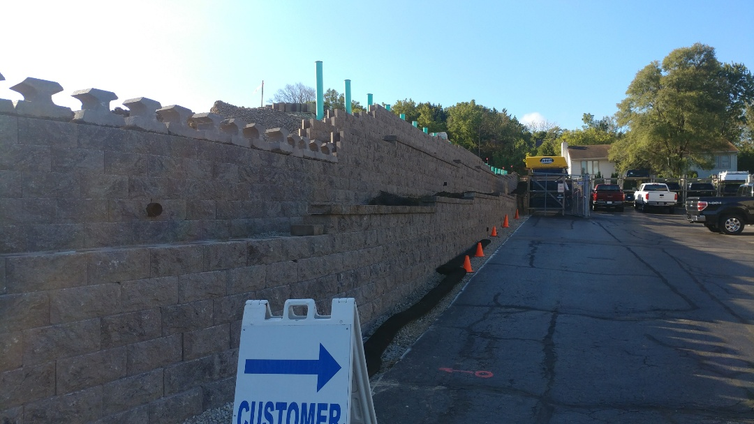 """Waukesha, WI - Finished this 10,000 sf Rockwood Chisel Face 8"""" retaining wall for The Redmond Company in Waukesha WI.  One of the largest retaining wall projects in the area"""