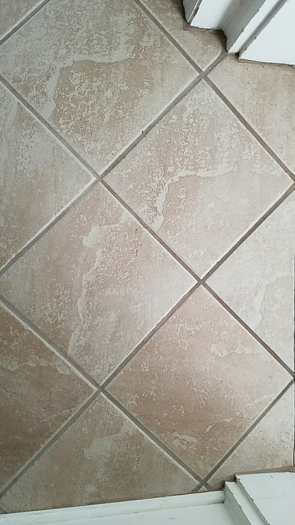 Richmond, VA - Look at the difference between the area that has been cleaned and the area that hasnt. This tile and grout looks absolutely amazing now!
