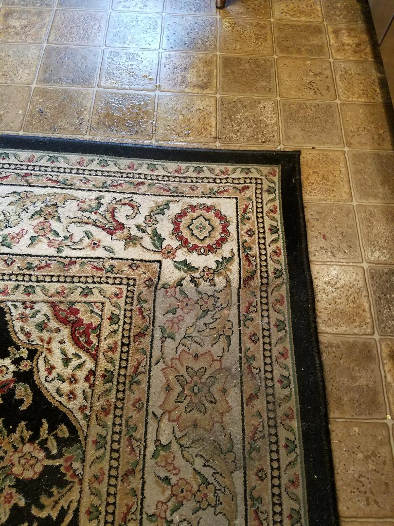 Richmond, VA - This once very exotic and rare Oriental rug was the pride of their kitchen. Look at how clean it will be when we are done. That's one heck of a difference!