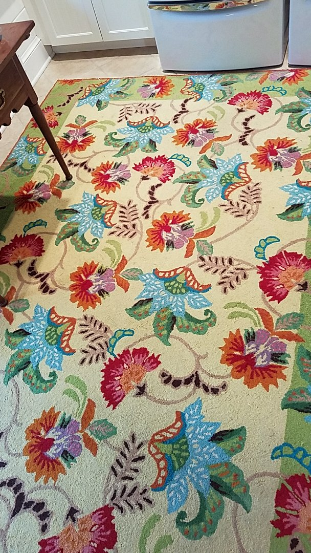 Henrico, VA - This beautiful Oriental rug resides in a mud room for this family that had 4 teenage boys! They're all in athletics so you can imagine the beating it takes! After a thorough cleaning it looks amazing! This homeowner is still in shock!!