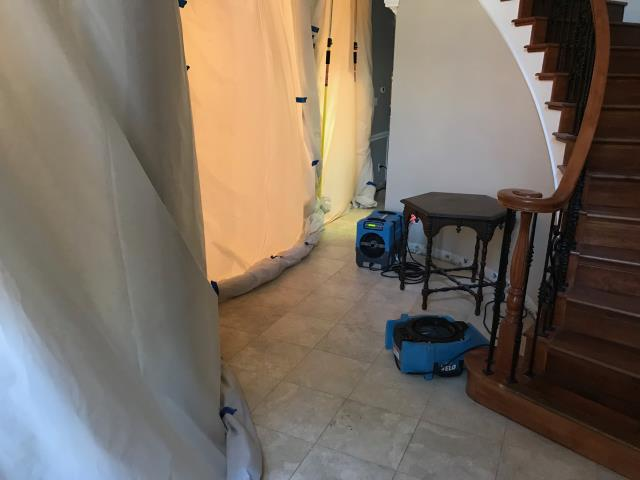 Starting the mitigation for water damage at a home in Colleyville, Texas caused by a hot water slab leak from a shifting foundation. The drying will take between 3-5 days.