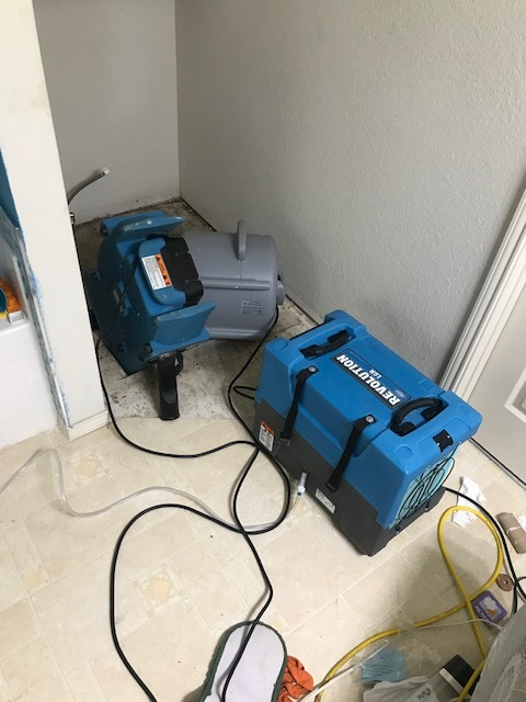 Grand Prairie, TX - Working on a water damage in Grand Prairie, Texas caused by a toilet leak which damaged the sub floor and framing.
