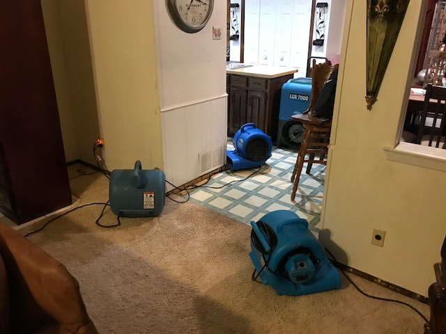 Arlington, TX - Inspecting water damage at a home in Arlington, Texas after rain water caused flooding to most of the home.