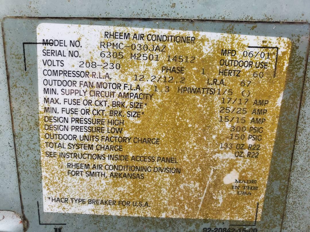Gainesville, FL - Old Rheem air conditioner heat pump
