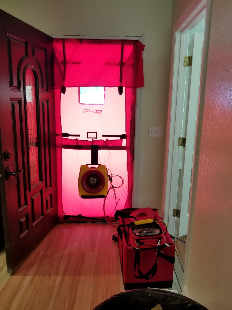 Williston, FL - Blower door test on new home to meet air tightness code requirement.