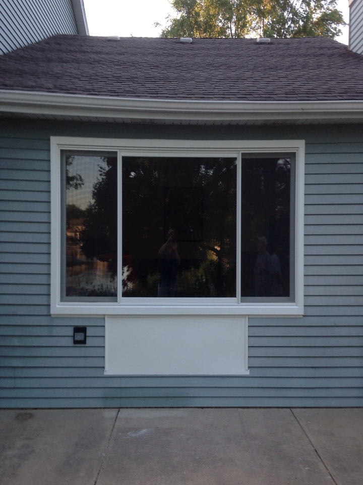 Aurora, IL - 6 foot patio door converted to 12 foot Marvin clad picture window with two gliders