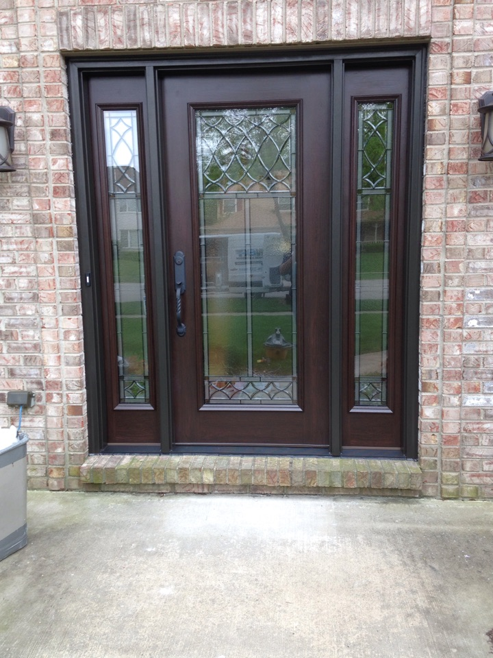Naperville, IL - Beautiful albany door and two sidelights merlot stain