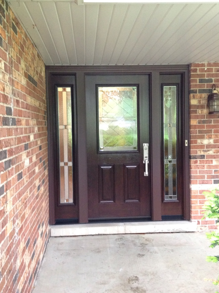 Arlington Heights, IL - Provia signet door  and sidelights mahogany grain hazelnut stain