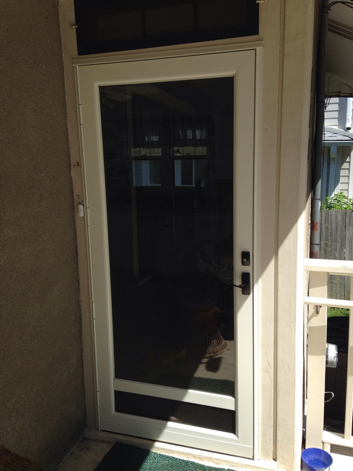 Naperville, IL - Provia cafe cream full view storm door with bottom vent