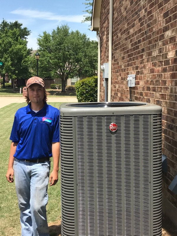 Rockwall, TX - Tune up ac system Cleaned condenser coils, repair Freon leak add refrigerant r22 and r410, install new wifi thermostat nest.
