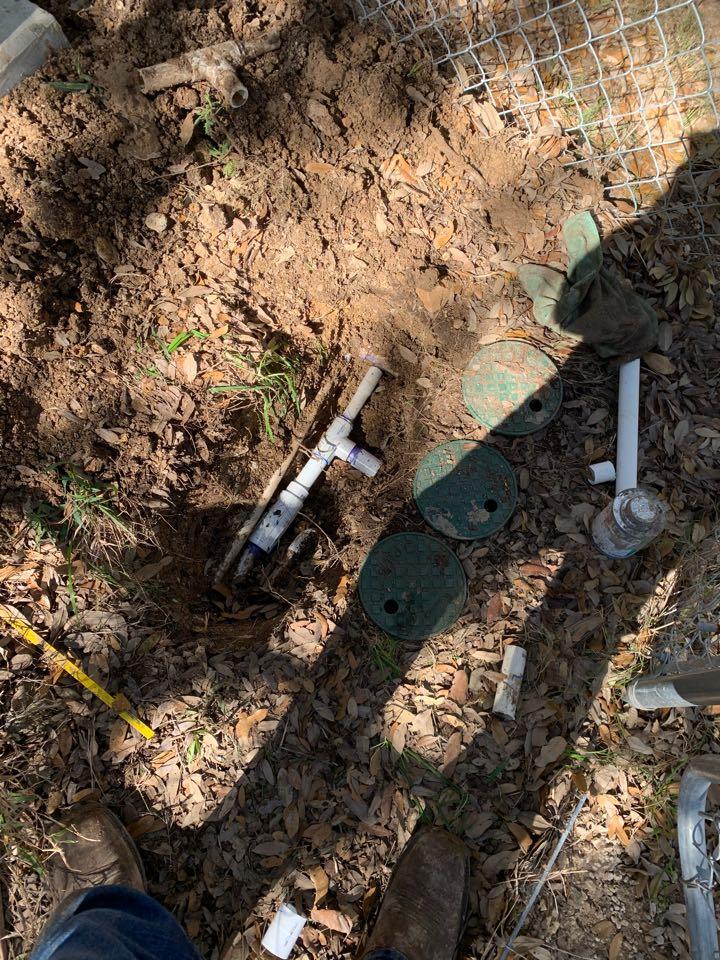 Boerne, TX - Repairing broken irrigation lines and replacing sprinkler heads