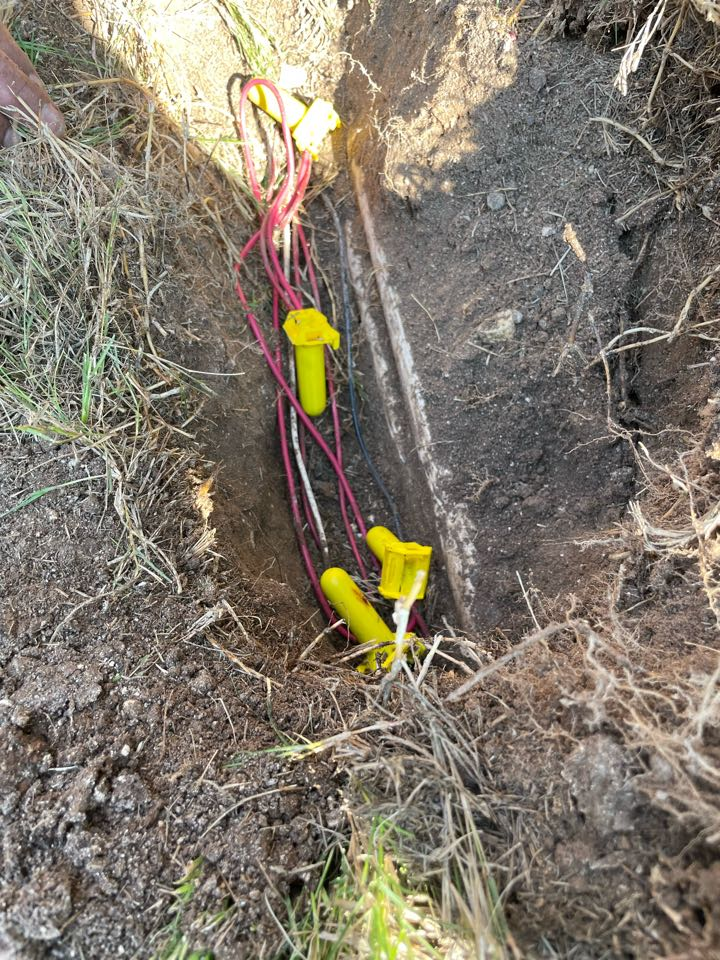 Repairing broken irrigation wire and system check