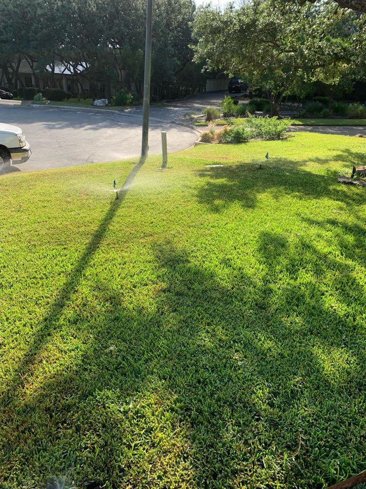 Shavano Park, TX - Straightening sprinkler heads for best coverage system check
