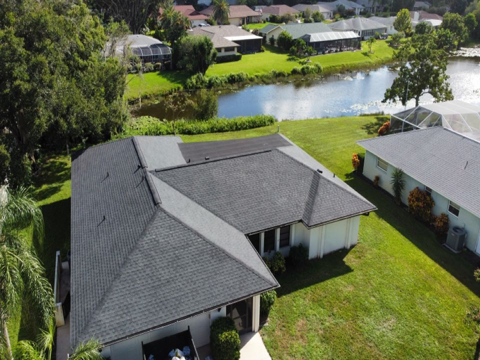Venice, FL - GAF Charcoal Shingle with GAF Color Match Flat Roof