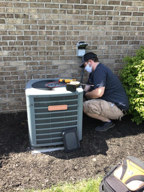 Lebanon, OH - Performing a Tune Up & Safety Check on a 2011 Goodman Air Conditioner unit. The Customer's system is ready for the season.