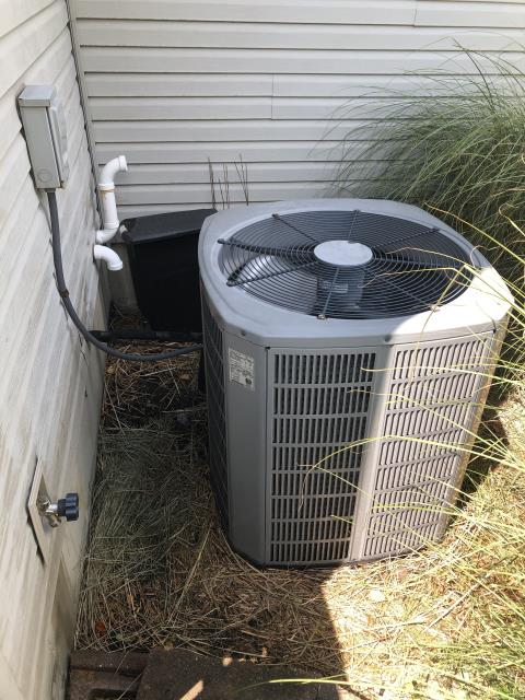 Springboro, OH - Upon arrival customer stated that ac was running fine. Inspection of outside unit found it was dirty. Outside coil was cleaned with hose