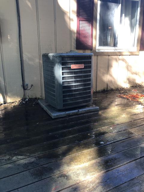 Miamisburg, OH - Goodman Heat Pump system was already turned on at stat which had a low battery signal. Checked and found proper high voltage going to electric furnace. Replaced 2 AA batteries in stat, system came on and began cooling the house. Removed dirty indoor filter for customer and washed off outdoor unit which was dirty blocking airflow. System is now operational.