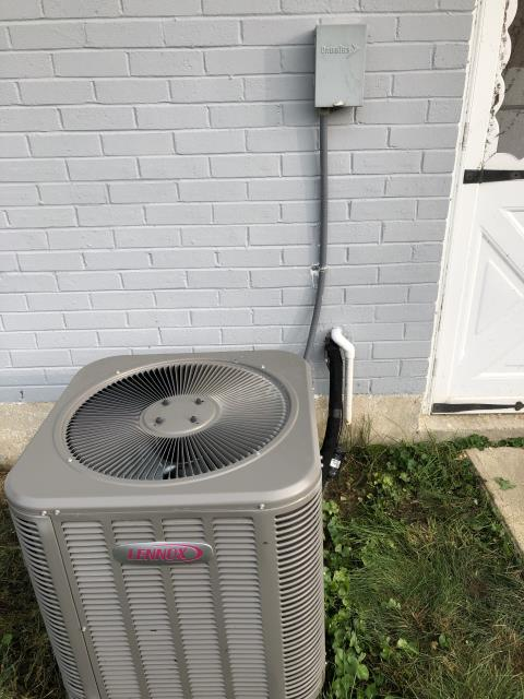 Centerville, OH - The 7 yr old Lennox AC is not cooling the house . I Checked refrigerant levels. System is low and has a leak.