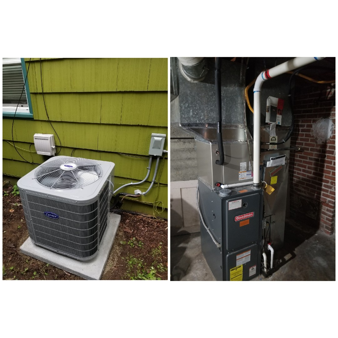 Portland, OR - Carrier air conditioner install in North East Portland on an existing furnace.