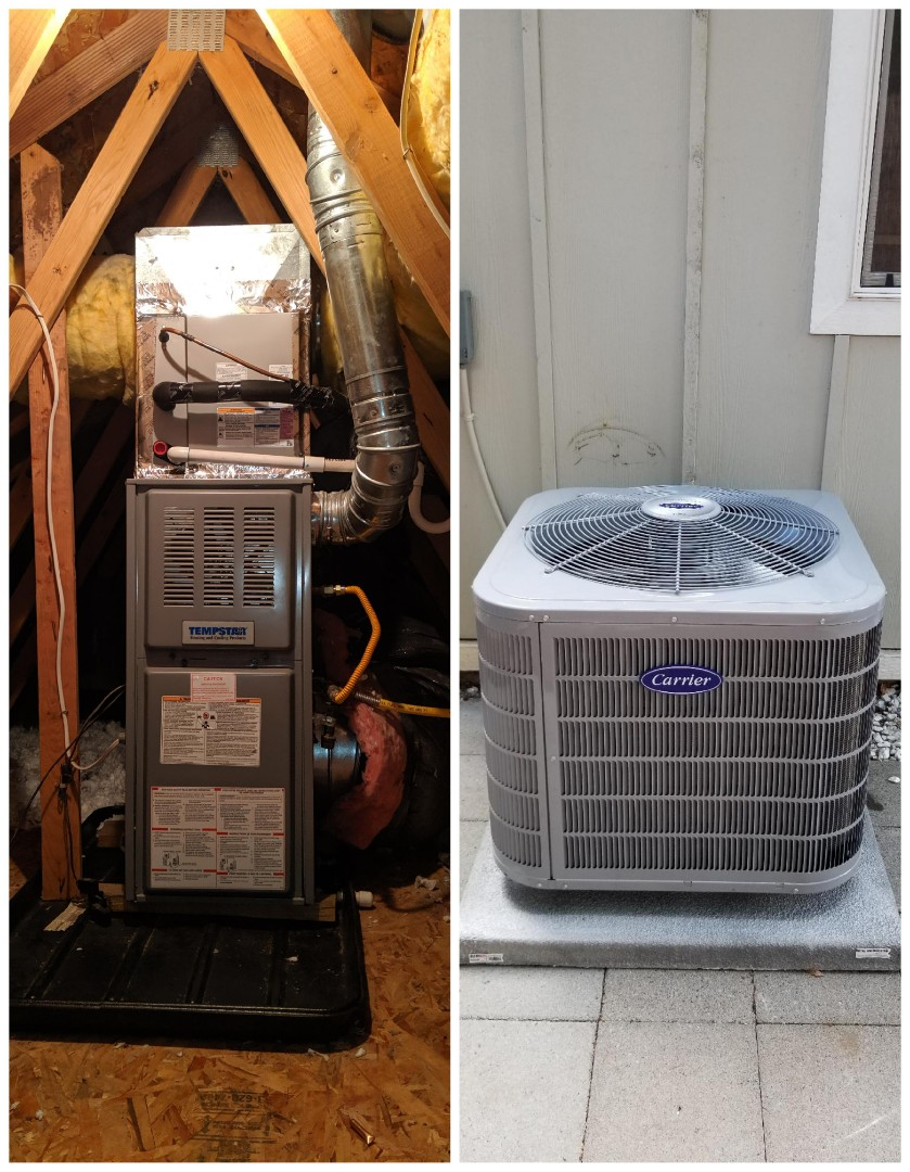Milwaukie, OR - Installed a Carrier Performance series 2 ton air conditioner, a Carrier indoor evaporator coil, and a Ecobee Thermostat.
