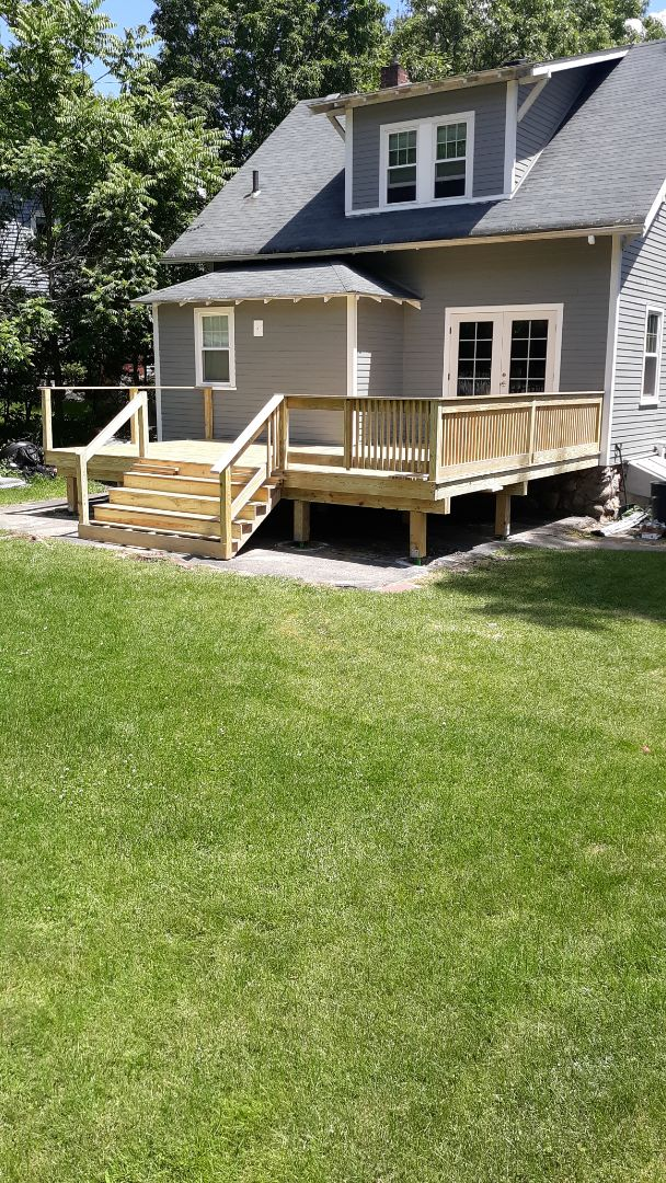 Reading, MA - Completing install of new PT deck