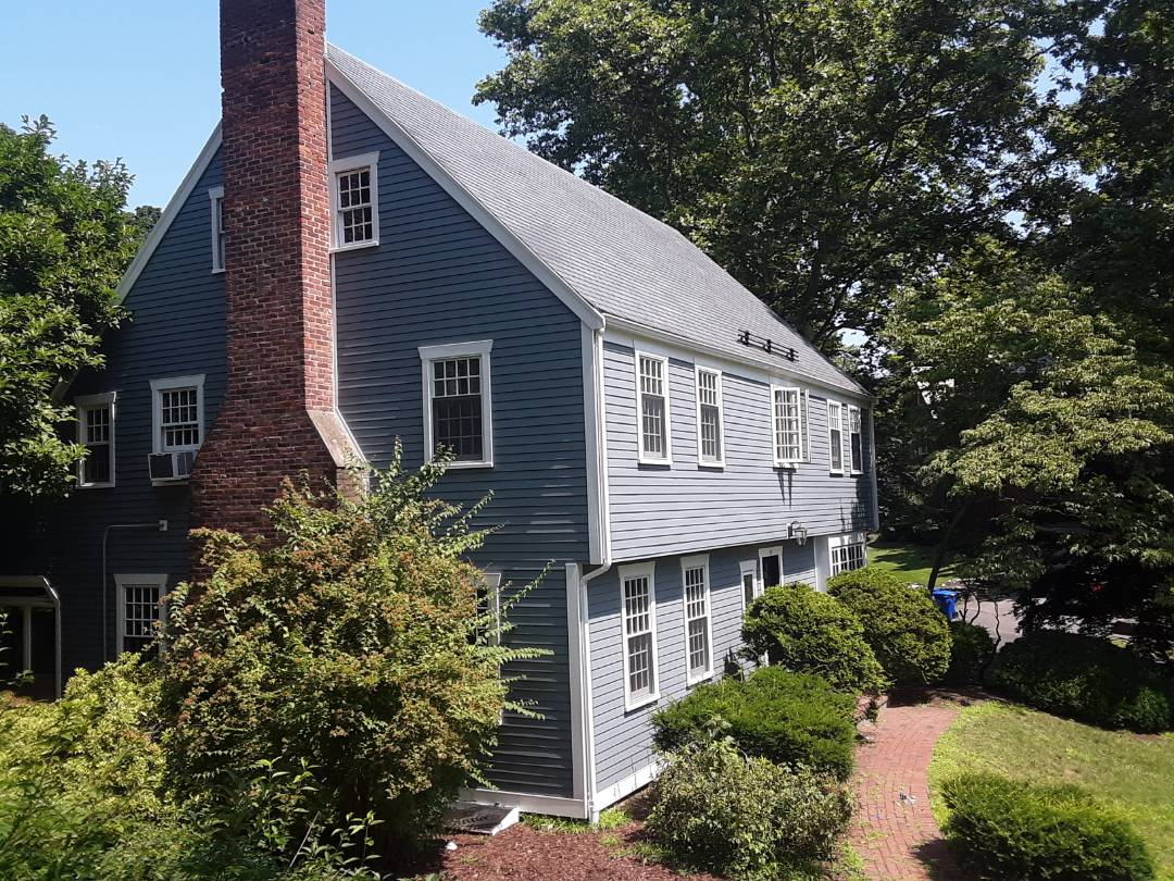 Brookline, MA - Another Boothbay Blue house, looks great in the summer sun