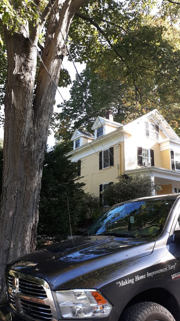 Winchester, MA - Finishing up roof install on this colonial home with GAF architectural shingles