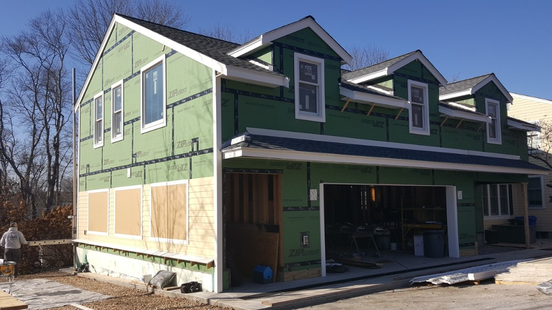 Bedford, MA - Dropped by to check the progress of our crew in installing #JamesHardie #FiberCement #Clapboard #Siding in the newly constructed addition of a home in Bedford, MA.