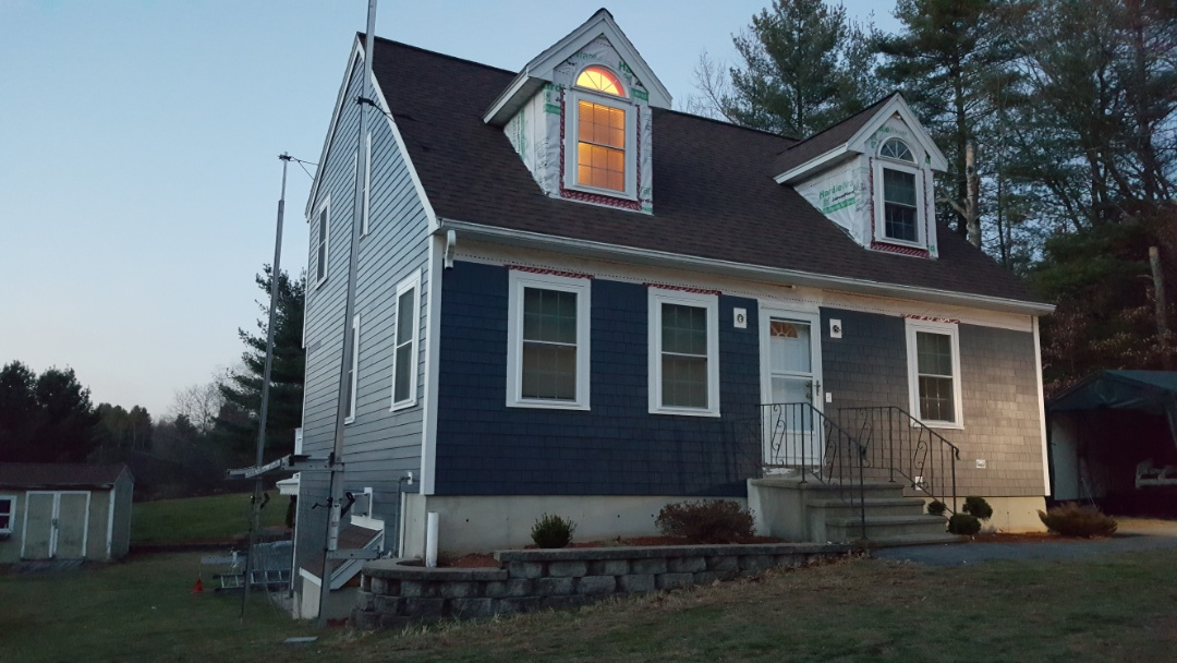 Tyngsborough, MA - Installation of #JamesHardie #FiberCement Straight Edge Panel #Shingles almost done in this home in Tyngsboro, MA.  #SolidStateConstructionMA  #MyHardieHome